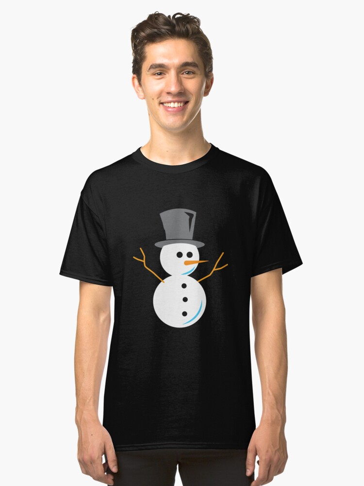 Snowman kids drawing gift Christmas Classic T-Shirt Front