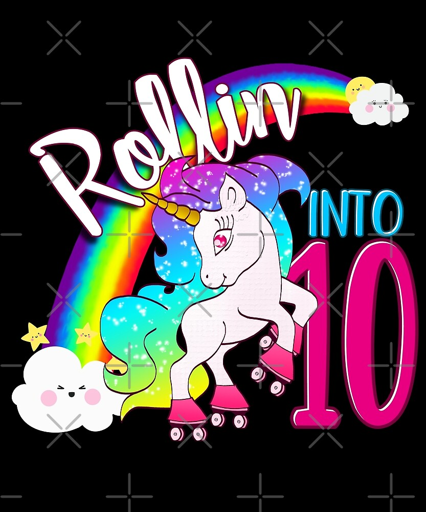 Unicorn 10th Birthday Kids Gift Shirt - Rollin Into 10 Shirt by proeinstein