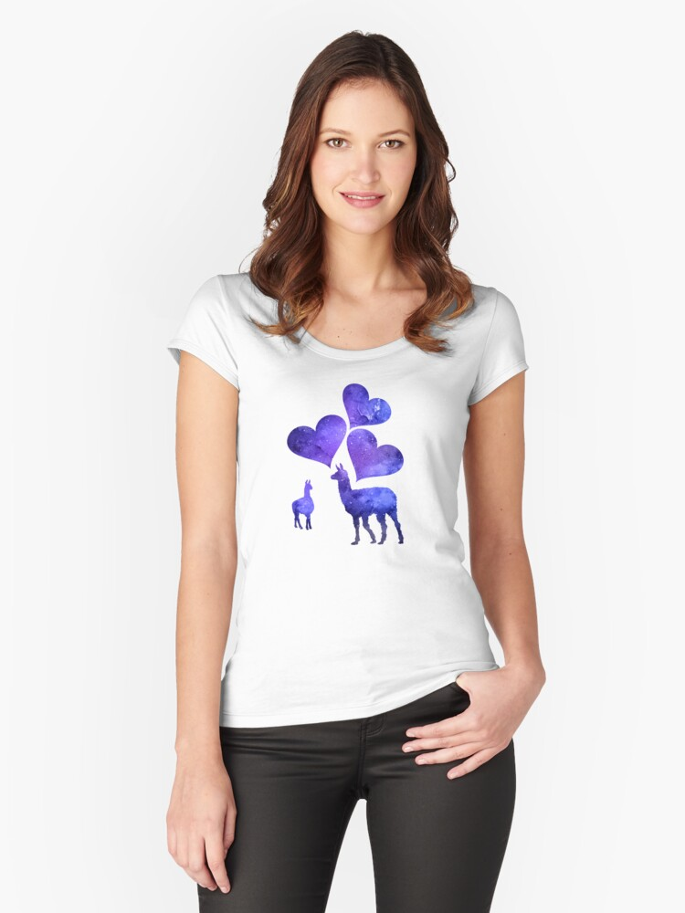Llama Couple Women's Fitted Scoop T-Shirt Front