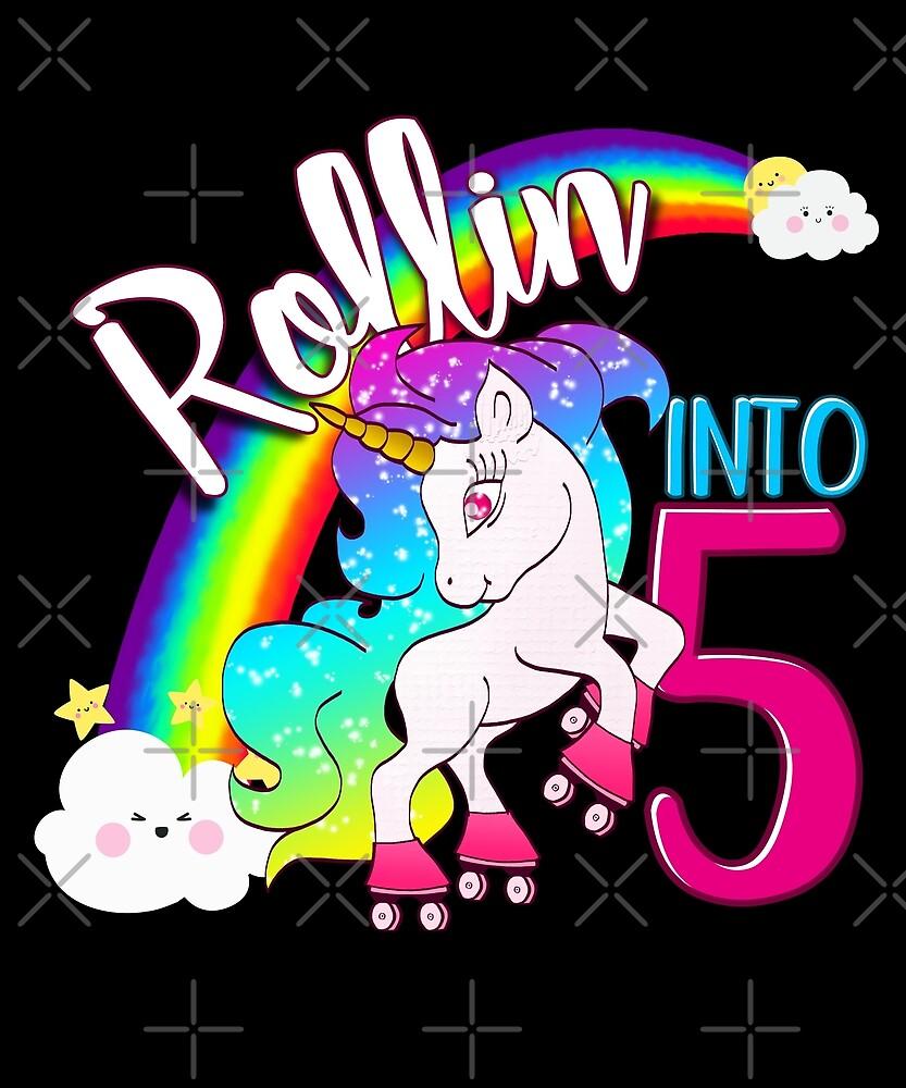 Unicorn 5th Birthday Kids Gift Shirt - Rollin Into 5 Shirt by proeinstein