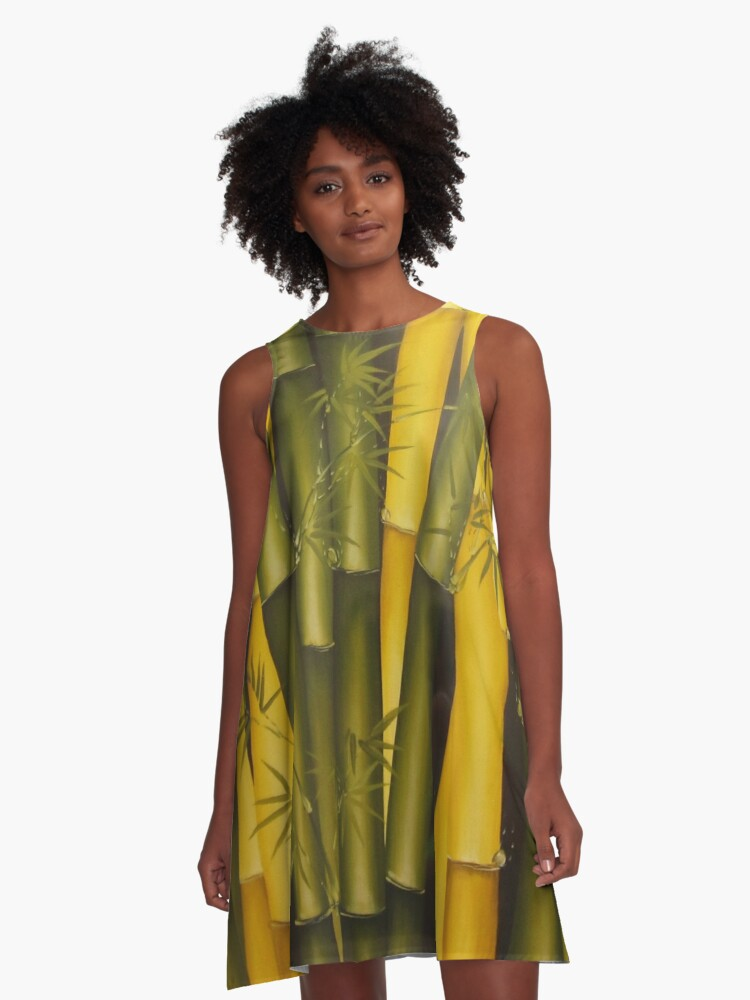 Art Bamboo Painting A-Line Dress Front