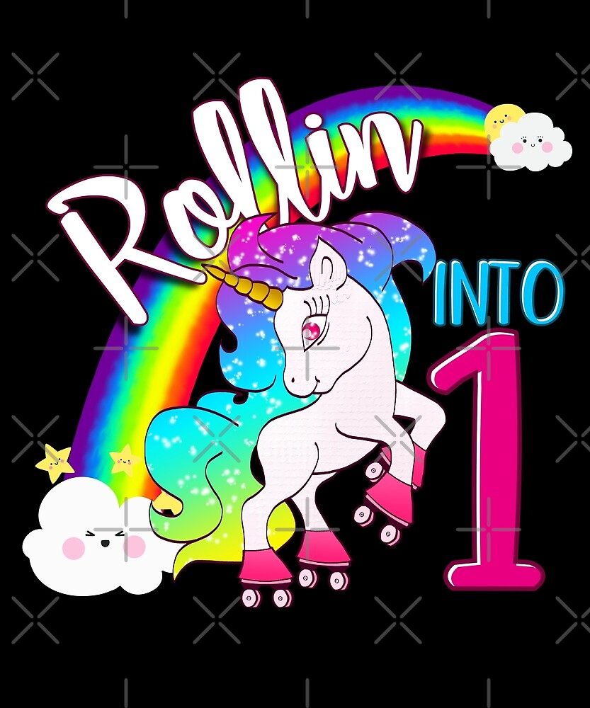 Unicorn 1st Birthday Kids Gift Shirt - Rollin Into 1 Shirt by proeinstein