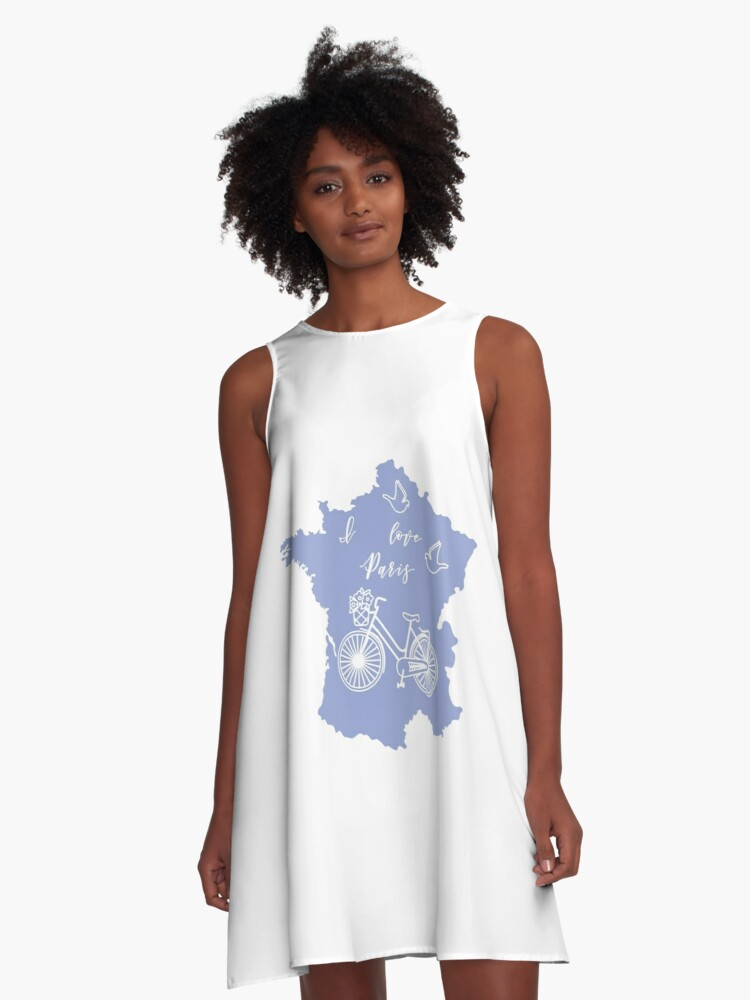 Map of France, bicycle, pigeons. A-Line Dress Front