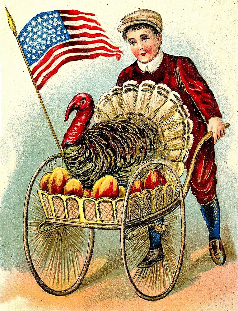 American patriot boy is coming with a turkey by AmorOmniaVincit