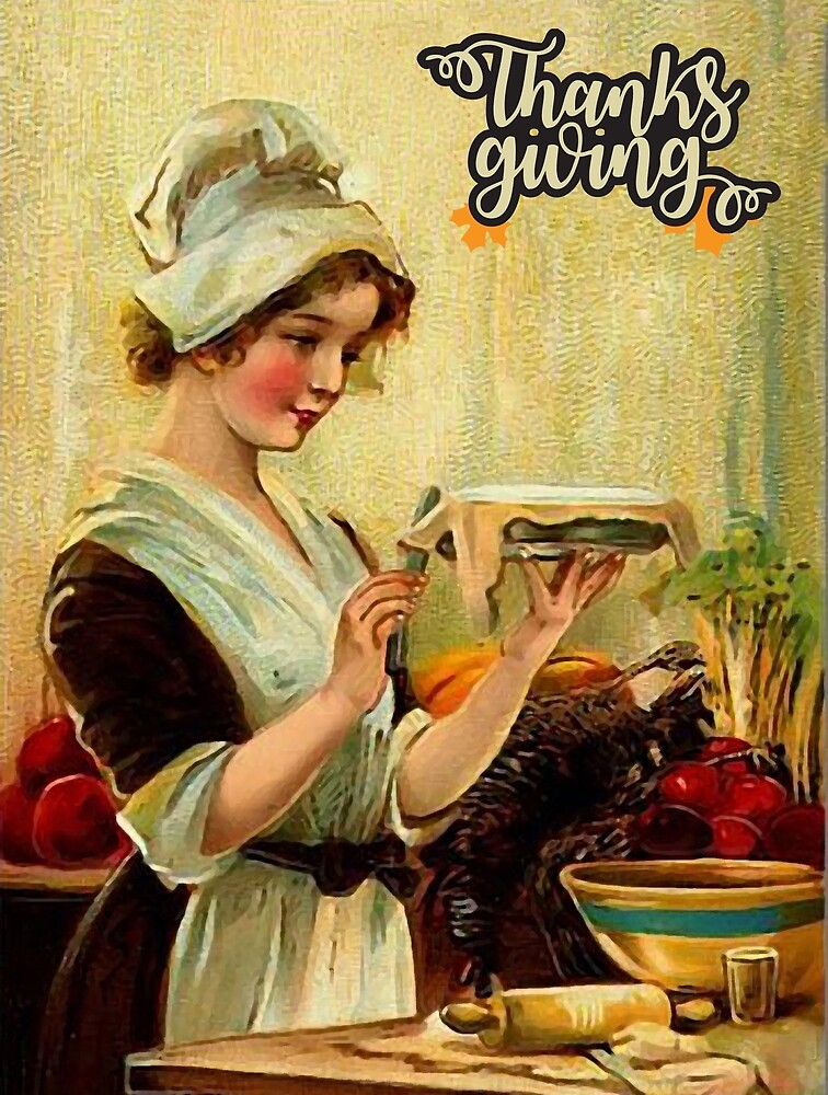 Young housewife woman preparing a Thanksgiving pie by AmorOmniaVincit
