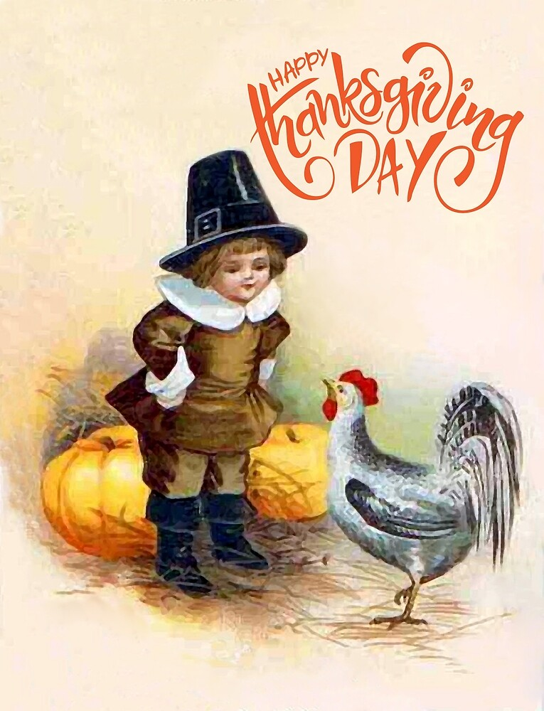 Little boy with a turkey and pumpkins, Thanksgiving day by AmorOmniaVincit