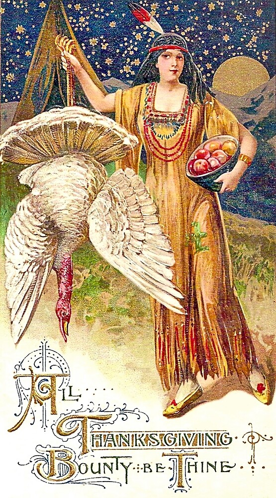 Indian squaw girl with a turkey and apples, thanksgiving festive by AmorOmniaVincit