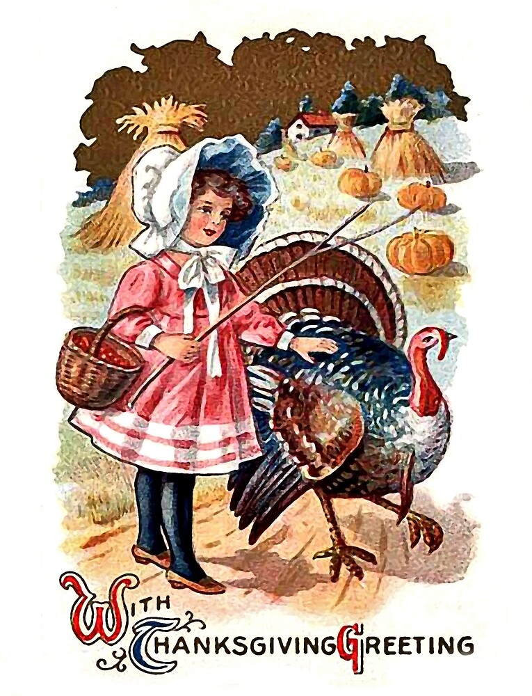 Little farmer girl with a big turkey, Thanksgiving greetings by AmorOmniaVincit