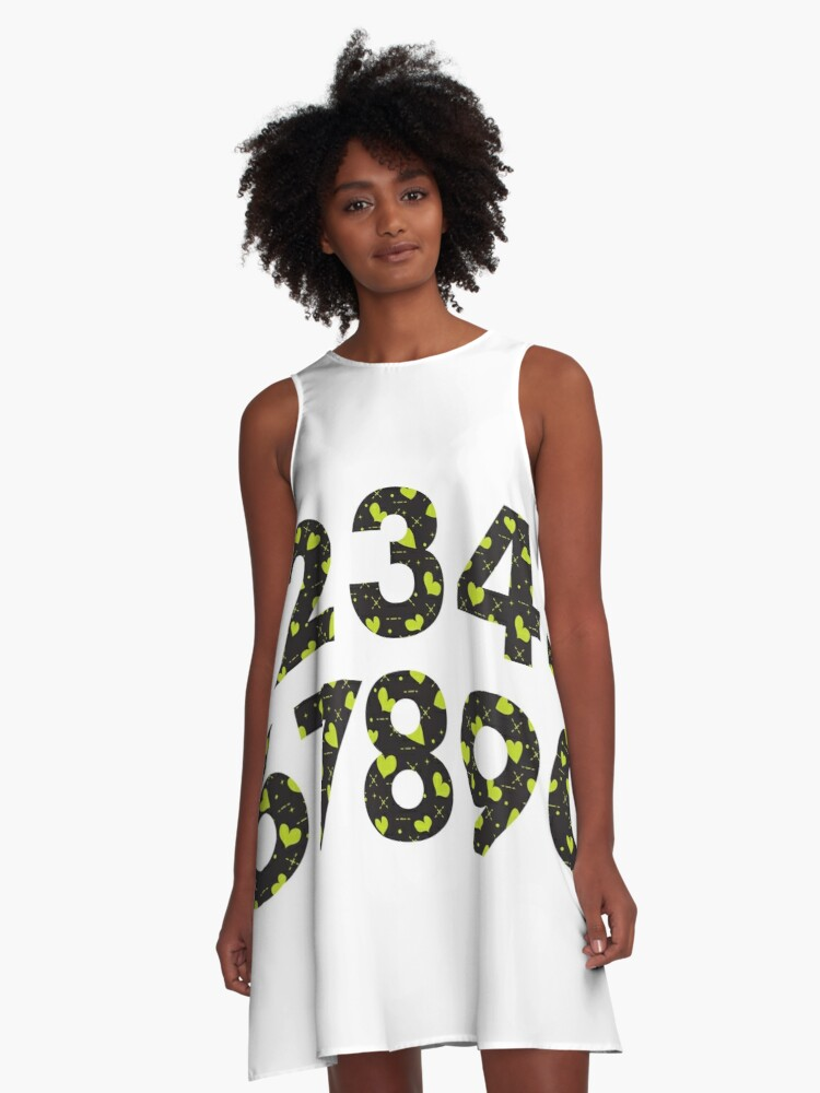 Arabic numerals with hearts. A-Line Dress Front