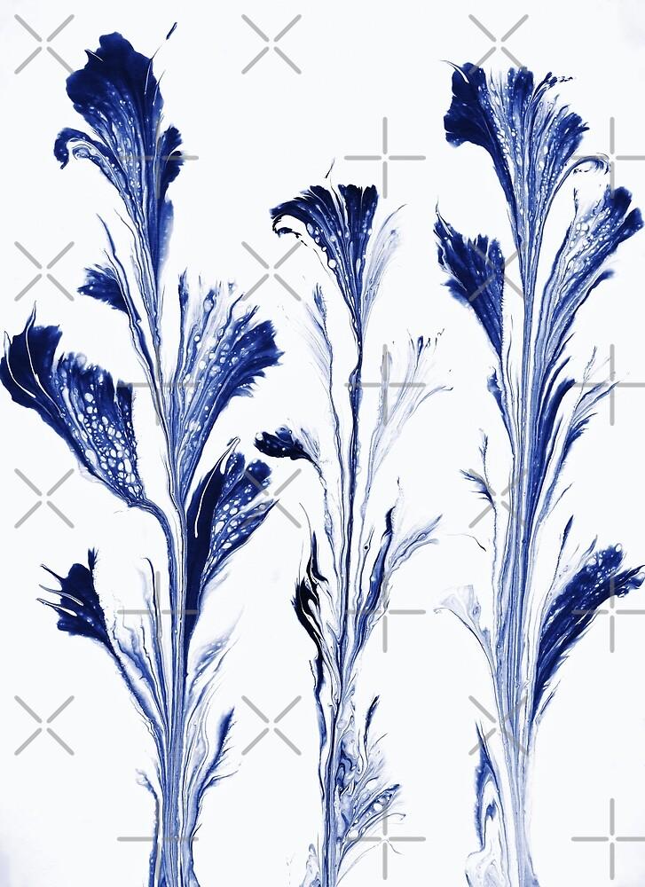 Painted Flowers In Blue by Karen Stahlros