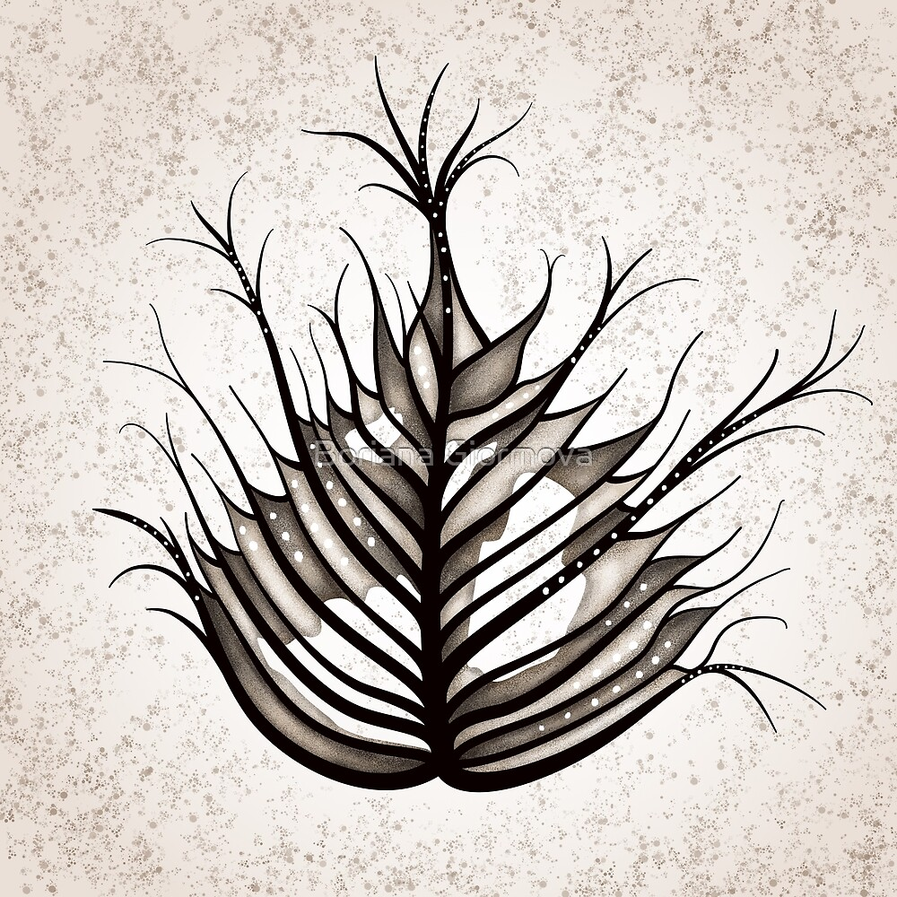 Hairy Leaf Abstract Art In Sepia by Boriana Giormova