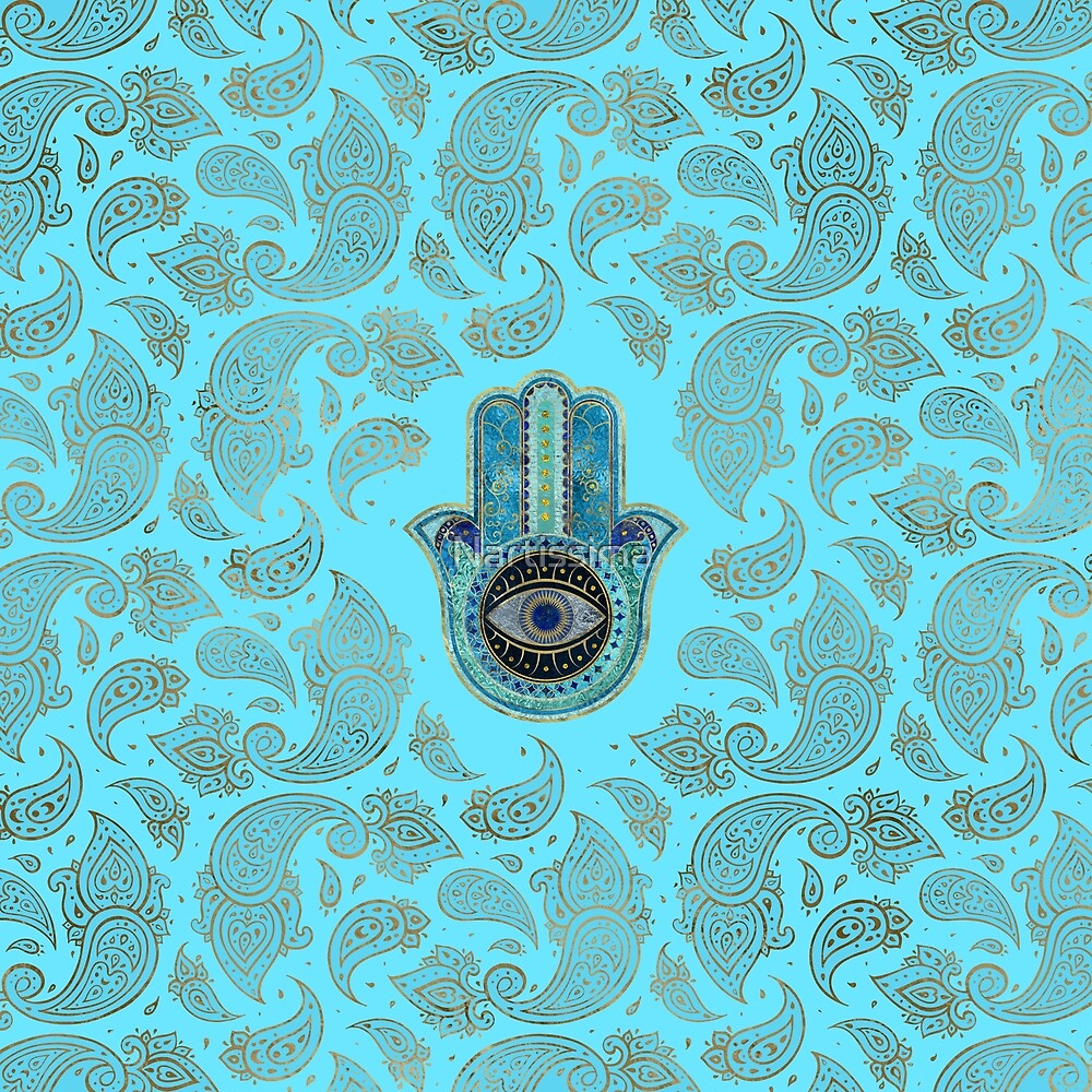 Hamsa Hand - Hand of Fatima with paisley background by Nartissima