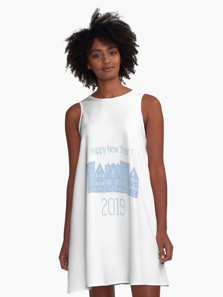 Happy New Year 2019 card. Vector houses. A-Line Dress Front