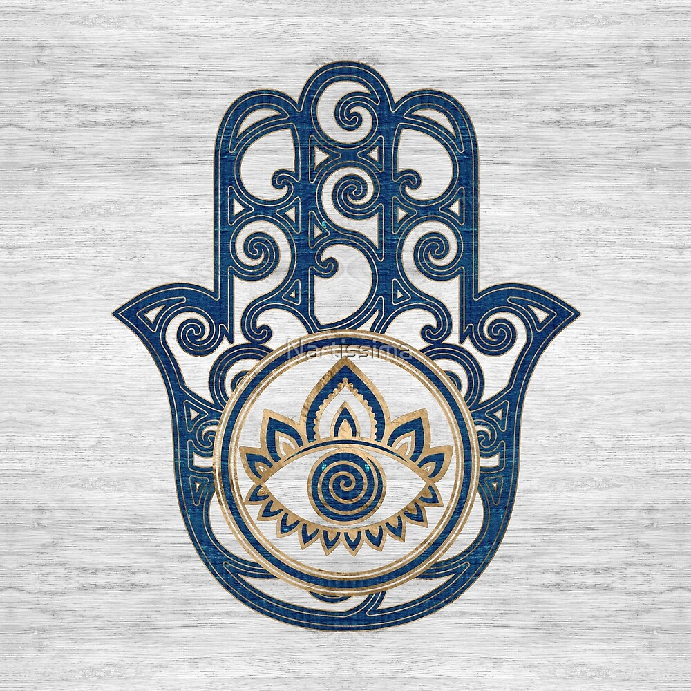 Hamsa Hand - Hand of Fatima blue wood by Nartissima