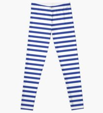 Stripes Stripey Striped Navy Blue White Stripes Nautical Sailor Hello Sailor Leggings