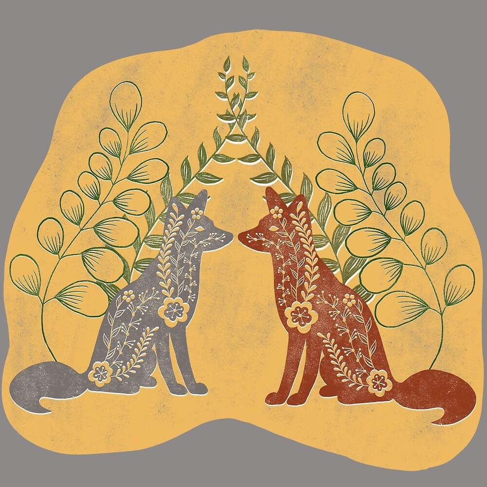 Silver and Red Fox Folk Art by Theodora Gould