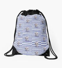 Alien Girl ET Striped Navy and White Stripes The truth is out there Stripey Stripes Drawstring Bag
