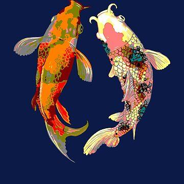 Koi fish Carp Pond Japanese Aquarelle fish lovers by peter2art