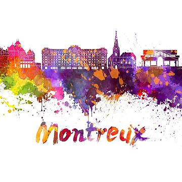 Montreux skyline in watercolor splatters by paulrommer