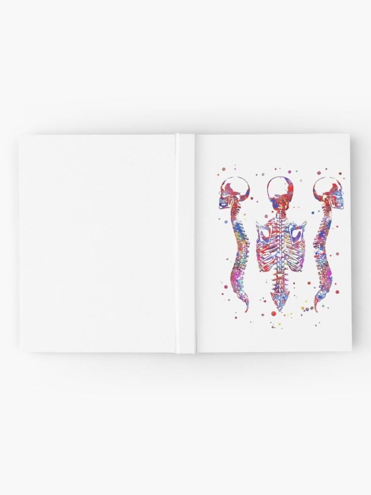 Alternate view of Human brain, watercolor brain, brain print, brain and spinal cord, spinal cord, spinal cord watercolor, Medical art, Rib cage Hardcover Journal