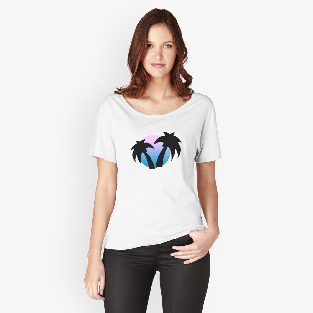 BLUE PALM VIBES Women's Relaxed Fit T-Shirt Front