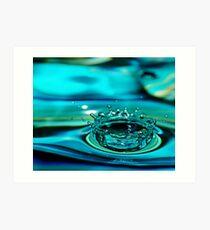 Blue Water Drop Crown Art Print