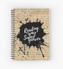 Reading is my Superpower Splatter Typography Quote Art (Vintage Paper) Spiral Notebook