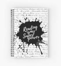 Reading is my Superpower Splatter Typography Quote Art (White) Spiral Notebook