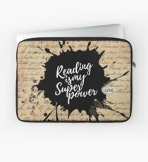Reading is my Superpower Splatter Typography Quote Art (Vintage Paper) Laptop Sleeve