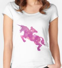 mounted unicorn Women's Fitted Scoop T-Shirt