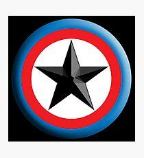 Bulls Eye, Star, Target, Roundel, Archery, Star, Badge, Buttton, on Black, Photographic Print
