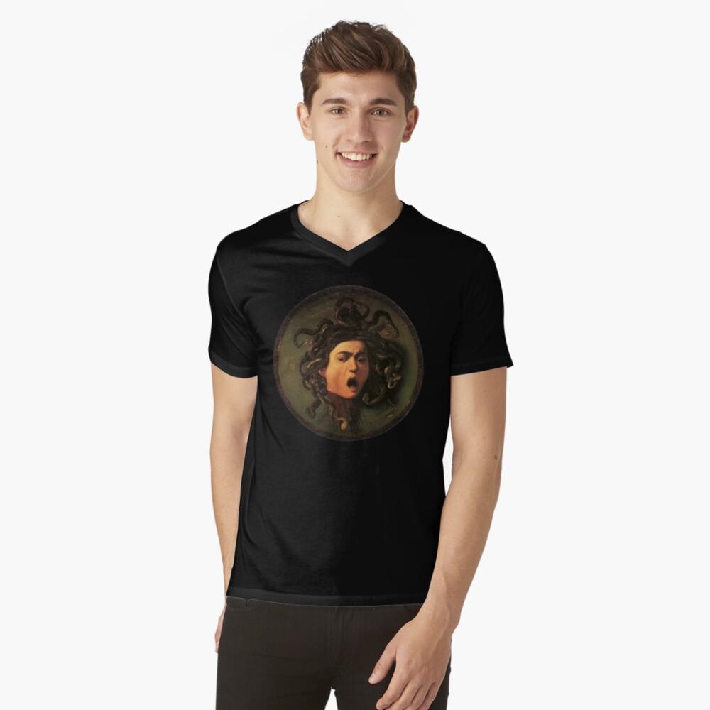 Medusa, venomous snakes in place of hair, Michelangelo, Gorgon, monster, Greek Mythology, Caravaggio, on BLACK. V-Neck T-Shirt