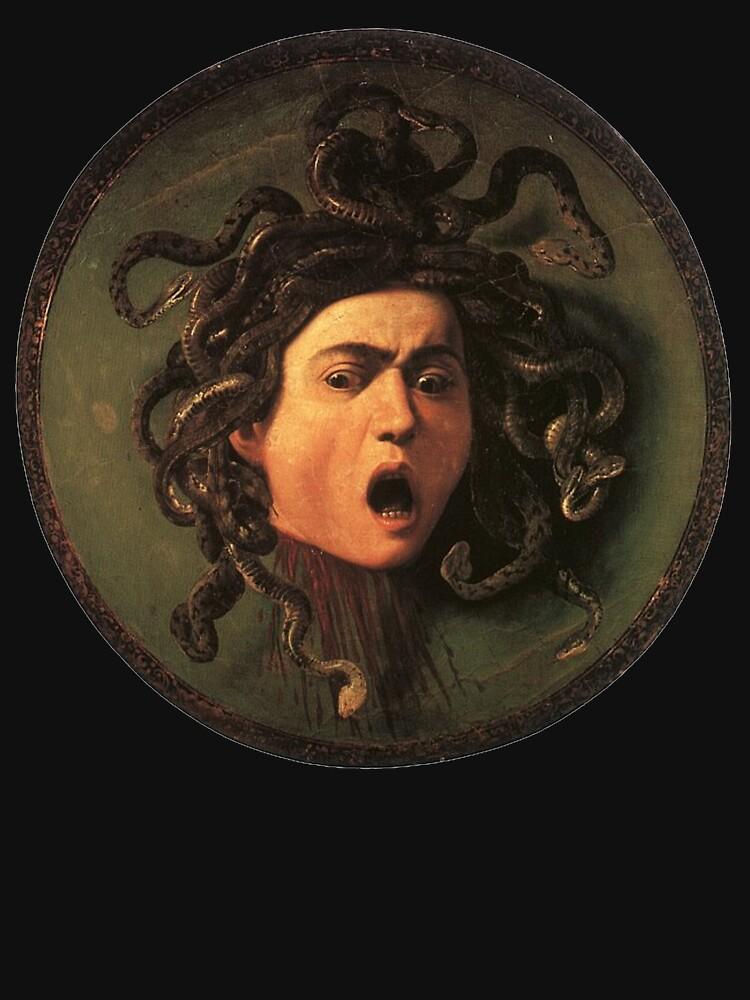 Medusa, venomous snakes in place of hair, Michelangelo, Gorgon, monster, Greek Mythology, Caravaggio, on BLACK. by TOMSREDBUBBLE