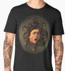 Medusa, venomous snakes in place of hair, Michelangelo, Gorgon, monster, Greek Mythology, Caravaggio, on BLACK Men's Premium T-Shirt