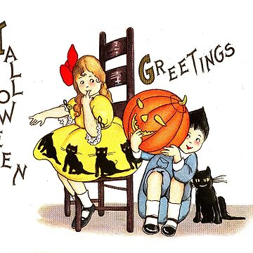Boy and girl wish you a happy Halloween with pumpkin and a black cat by AmorOmniaVincit