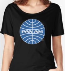 Pan Am Tshirt Pan Am Logo on Black Shirt Classic Defunct Airline Women's Relaxed Fit T-Shirt