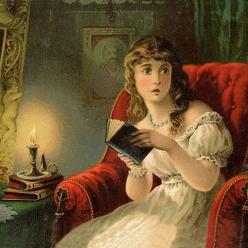 Scared girl reading a book at night, Halloween vintage greeting by AmorOmniaVincit