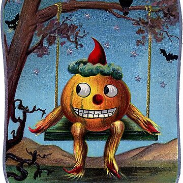 Scared, pumpkin on a swing, vintage Halloween funny greeting by AmorOmniaVincit