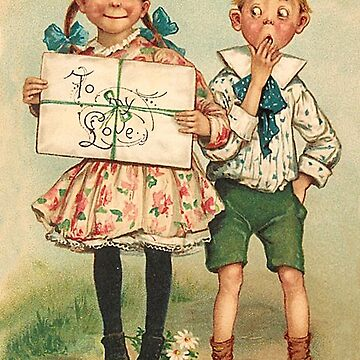 Girl and boy with birthday gift, vintage fummy greeting by AmorOmniaVincit