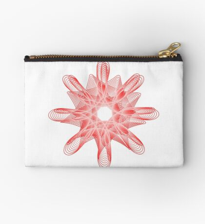 Spirals with Red and White Zipper Pouch