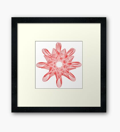 Spirals with Red and White Framed Print