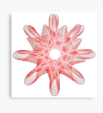 Spirals with Red and White Metal Print