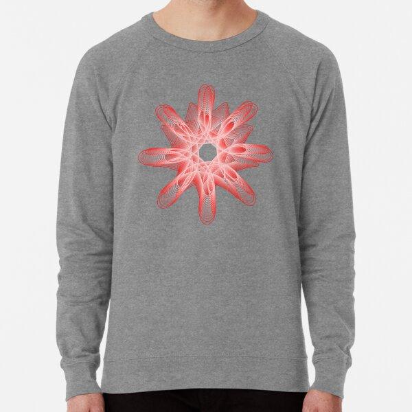 Spirals with Red and White Lightweight Sweatshirt