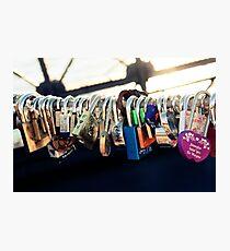 Lámina fotográfica NEW YORK - Brooklyn Bridge Love Locks
