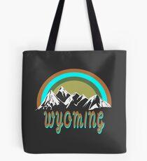 Retro Wyoming mountains graphic design  Tote Bag