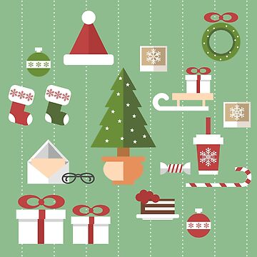 Christmas objects drawings on green bacgkround by SooperYela