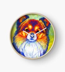 Colorful Long Haired Chihuahua Dog Clock