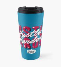 Hustle Harder Typography Lettering Art (Blue) Travel Mug