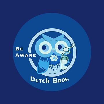 Blue cute owl dutch bros coffee be aware by MimieTrouvetou