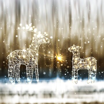 Two Reindeer From Lamp And Wire by lantica